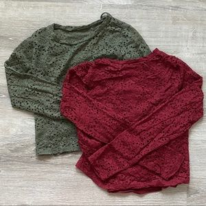 🌟Hollister | TWO Lace Eyelet Crop Top Pullovers